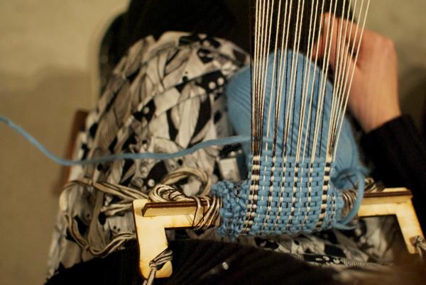 weaving in blue