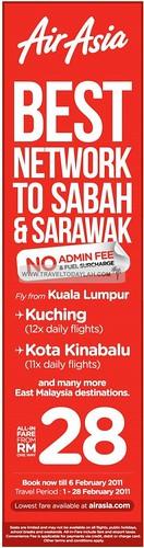 AirAsia flights to Sabah and Sarawak from Kuala Lumpur