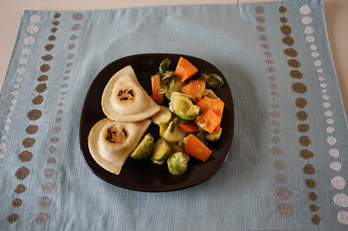 pierogies, vegetable medley with chiles
