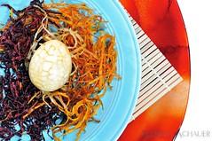 Concentric (Allison Achauer) Tags: food vegetables dinner one potatoes colorful nest tea circles egg plate muse meal beets carrots cracks marbled 52 hardboiled julienned foodstyling strobist afsnikkor50mmf14g 52weeks2011