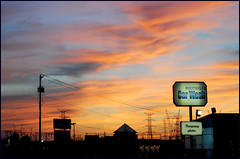 Adobe Sunset (Cliff Michaels) Tags: pink blue sunset red signs colors yellow night photoshop 50mm gold evening twilight nikon cityscape tennessee towers maryville blountcounty d5000 pse9