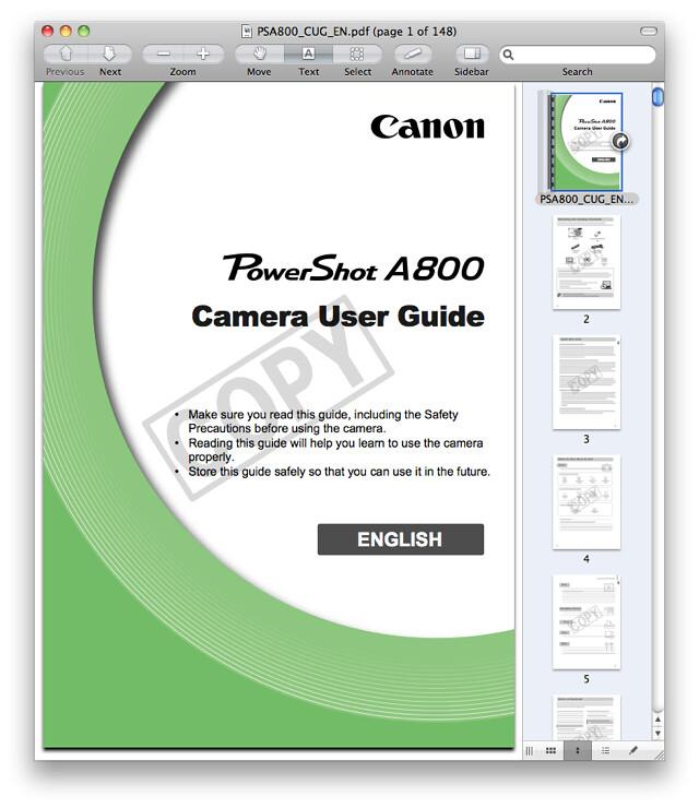 Canon A800 Manual