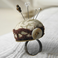Willow Boughs Pincushion Ring (Wychbury Designs) Tags: uk bronze vintage pin handmade lace sewing pins ring fabric button pincushion etsy mad cushion madhatter hatter folksy wychbury