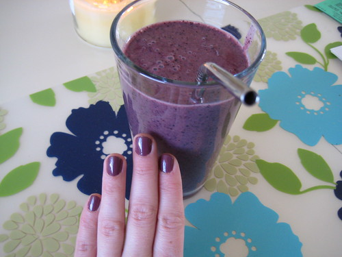 Essie nail polish and smoothie