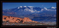 La Sal Mountain View (Ray and Anne) Tags: landscape utah scenery moab archesnationalpark lasalmountains fieryfurnace
