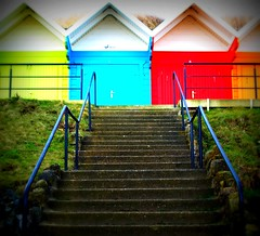Up to the hut (Tony Worrall Foto) Tags: wood uk sea england holiday color geometric beach up lines stone climb coast wooden seaside rainbow patterns steps shapes clash huts cover use rails change chalet scarborough boxes seafront ro southbay beachhuts northyorkshire relic cabins yorks coours tonyworrall scarboroughbeachhuts thesouthbaybeachchalets