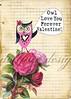 Owl Love You Forever Valentine (ms_mod) Tags: pink art love rose collage vintage mod graph valentine retro ephemera owl etsy greetingcard valentinesday vintagepaper dollfacedesign