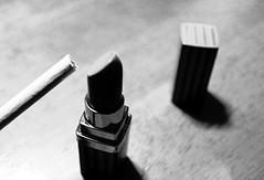 35/365: Lipstick (joyjwaller) Tags: blackandwhite japan tokyo cigarette smoking gift lipstick lighter tobacco project365 idunnobutitseemsanoddgifttogivetoawomanwhodoesntwearmakeup perhapsitsahint ilovethislighter
