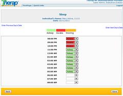screenshot showing sleep patterns of time tracking module