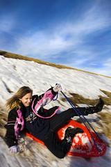 Fall Down! Go Boom! (Barry.Lenard) Tags: blue winter sky snow playing oklahoma girl clouds high hill falling clear sledding wispy crashing