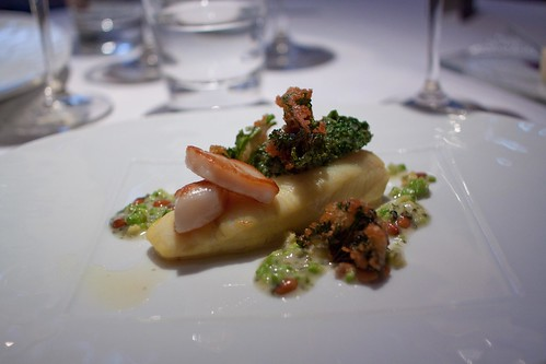 Plaice, seared scallops and fried kale