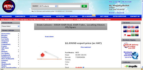 Petra purchase of the Sram leisure rod.  Just love those British euphemisms..