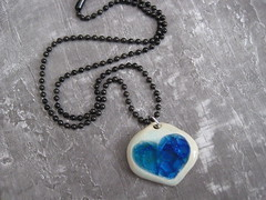 (leandog) Tags: art love glass ceramic necklace girlfriend colorful aqua heart recycled handmade unique jewelry jewellery pottery sweetie accessories sweetheart etsy pendant bold chunky stoneware cobalt upcycled