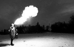 Fire Breather, Reykjavik (Duncan R S Harvey) Tags: winter boy blackandwhite bw man fire iceland reykjavik teenager valentinesday firebreather westiceland iceland2011