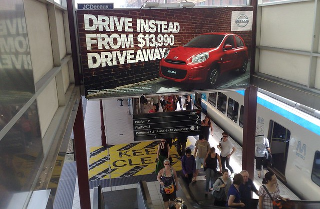 Nissan Micra advertising at Flinders St Station
