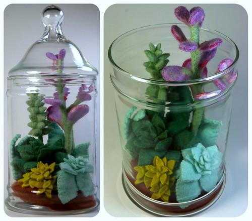 Needlefelted Succulent Terrarium