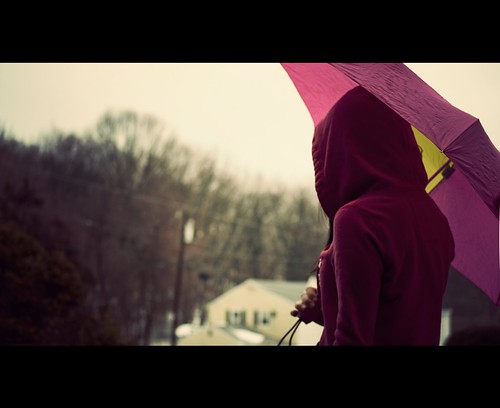 pink cold girl rain weather umbrella outside gloomy weekend sweatshirt friday sick