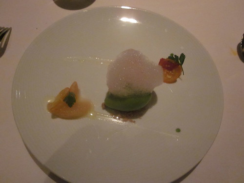 Manresa - Los Gatos, CA - Citrus Dinner - February 2011 - Yuzu Souffle Cake with Herb Sorbet, Exotic Citrus with Honey and Spice, Olive Oil and Almond Crumble