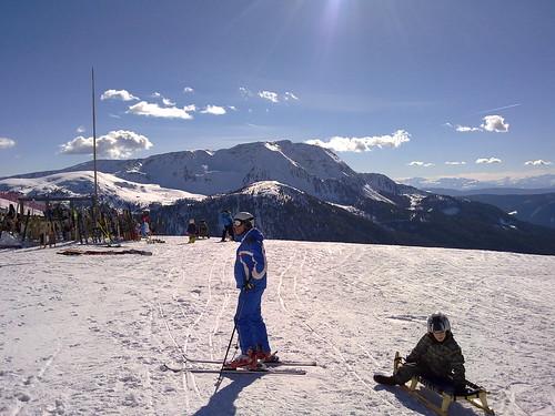 Ausblick von der Skihütte Pichlberg auf die Sarner Scharte gegen Süden