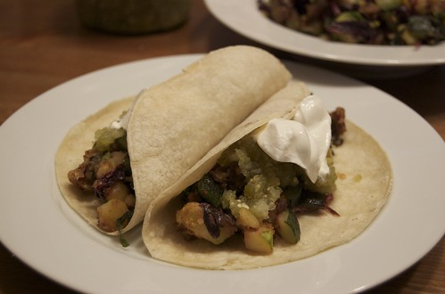 Zucchini, Potato, and Amaranth Tacos