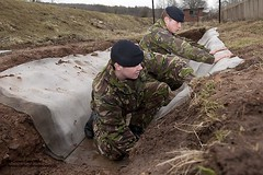 Concrete Cloth Layed by Soldiers at FOBEX Demonstration (Defence Images) Tags: uk man male wales concrete soldier army mod technology military des equipment newport british cloth defense base defence gwent fob personnel tactical caerwent identifiable fobex