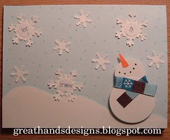 Let It Snow - Blue (GreatHands Designs) Tags: christmas holiday snow scarf snowflakes snowman handmade polka card dots letitsnow greeting drift