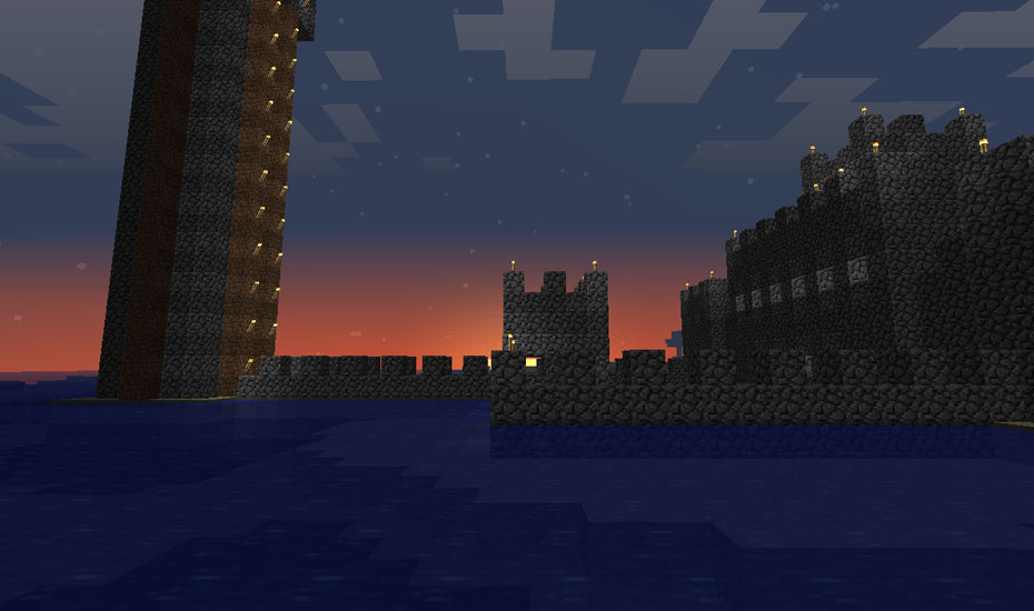 Minecraft - The Castle dock at sunset