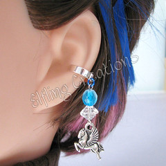 Flight of the Pegasus - Blue and Silver Cartilage Ear Cuff