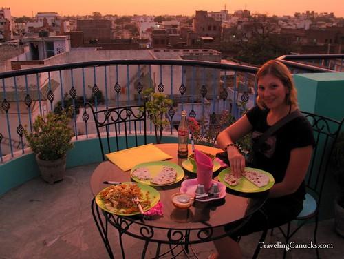 Dinner on Rooftop Restaurant in Varanasi, India