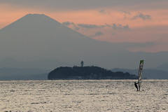富士、江ノ島、ウインドサーフィン