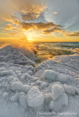Shoreline Ice (Ken Scott) Tags: shorelineice winter march sunset lakemichigan iceballs greatlakes christmascove hdr leelanau michigan usa