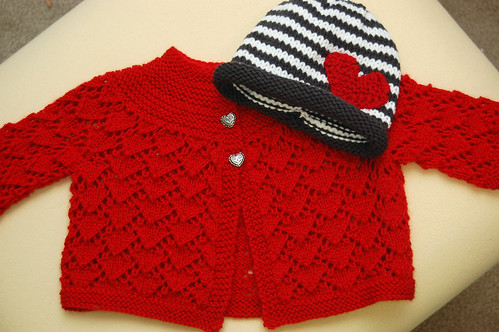 Heart Sweater with Stripey Hat