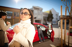 Walking By (kaoni701) Tags: sf sanfrancisco portrait girl nikon dof bokeh 14 wideangle soma shallow nikkor moscone 24mmf14 d700