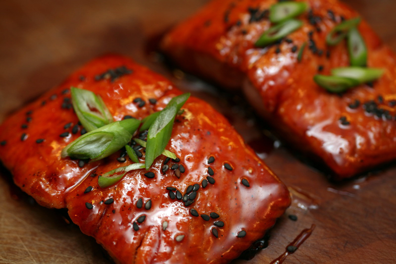 salt, teak & fog: blood orange-soy glazed salmon