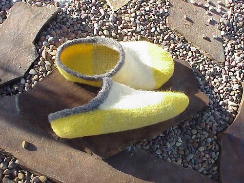 Yellow & white slippers