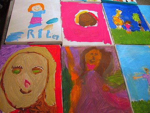 The girls' self-portraits from the Frida party 1