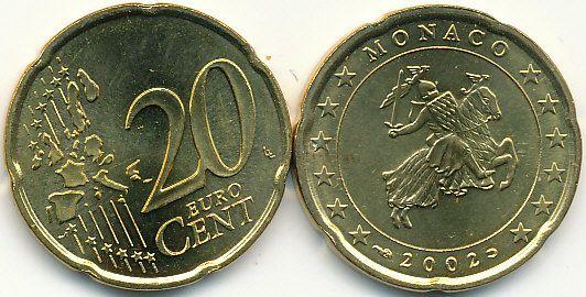 20 Centov Monako 2002