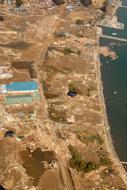 Aerial image of Sendai tsunami damage