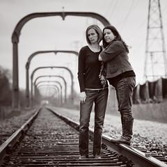 wrong side of the tracks 72/ 365 (lolaluvsme) Tags: me train dof tracks 70200 cherie phew thisisthefirsttraintracksshotigotawaywith withoutgettingstoppedbyacop orthreatenedwithtrespassing