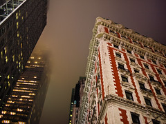 Knickerbocker in fog (zlandr) Tags: city nyc newyorkcity urban newyork building fog architecture night buildings hotel manhattan landmark olympus architectural midtown timessquare ep1 knickerbocker beauxarts knickerbockerhotel chrisfarling zlandr