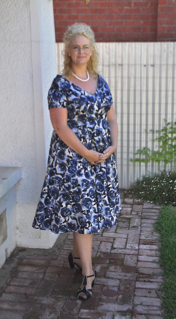 Blue Floral 1950's Dress