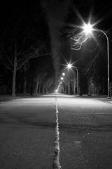 - 74/365 - (Pieter D) Tags: road street light bw white black night 365 brasschaat project365 pieterd mostly365 3652011 365the2011edition