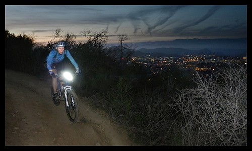 By time we started heading down the mountain, it was time to kick on the lights. The scenery is absolutely amazing at dusk. This is the loop I used to ride after work, by myself, and it was such a nice treat to be able to share it with Donna - I'm looking by BroAndDonna