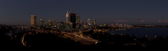 Perth CBD from Kings Park (after sunset)