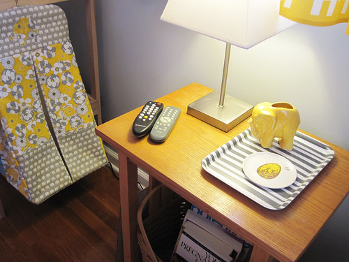 little yellow and gray trays and yellow elephant