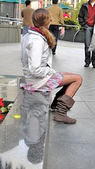 Tattered Nylons & Slouchy Boots (Lynn Friedman) Tags: sanfrancisco woman floral stockings boots mini tights skirt jacket sit ponytail unionsquare suede slouch lynnfriedman