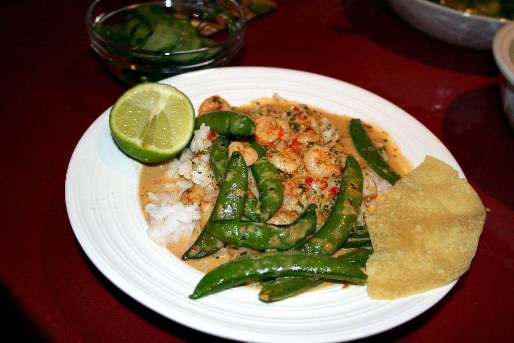 Thai Red Prawn Curry, Jasmine Rice, Cucumber Salad