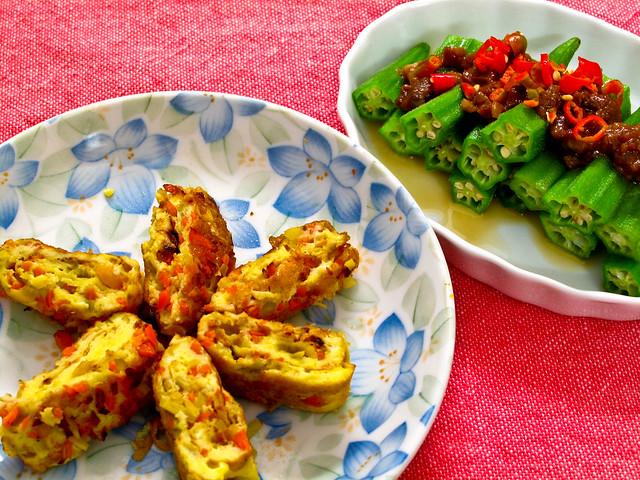 IMG_1536  晚餐 : 羊角豆 , 麻油炒姜茸和红萝卜粒