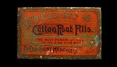 colony (tintinitus2) Tags: tins oldcolony oldtin timchapman female root cotton pilltin timothychapman medicaltin pennyroyal tansy pills antiquemedicaltin antiquepilltin
