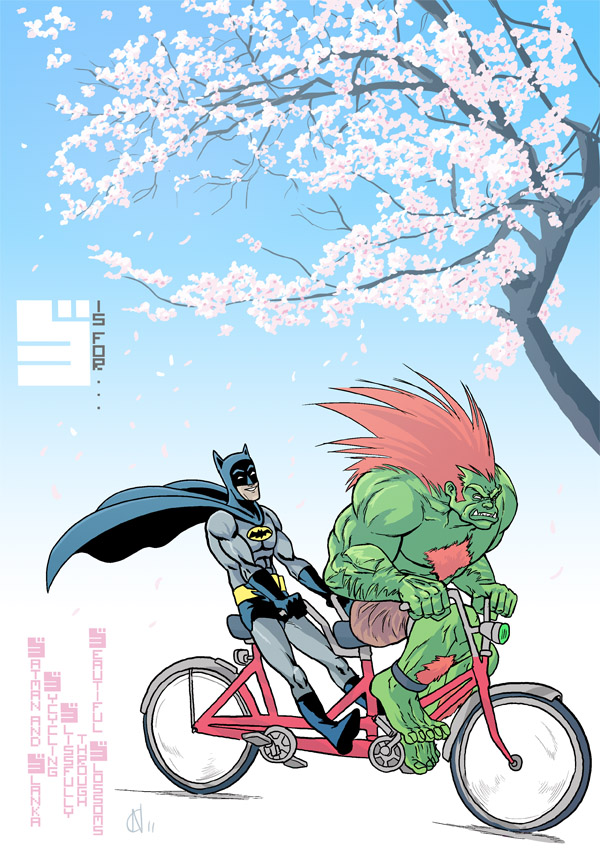 B is for... Blanka and Batman Blissfully Bicycling through Beautiful Blossoms